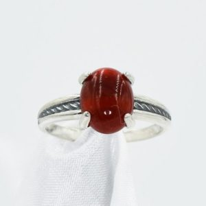 Shop Carnelian Rings! Red Carnelian Ring, Something Red, Genuine 10x8mm Cabochon Oval, Set in  925 Sterling Silver Antiqued Rope Mounting | Natural genuine Carnelian rings, simple unique handcrafted gemstone rings. #rings #jewelry #shopping #gift #handmade #fashion #style #affiliate #ad