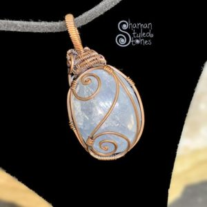 Shop Celestite Pendants! Celestite tumble, shaman styled in oxidized copper | Natural genuine Celestite pendants. Buy crystal jewelry, handmade handcrafted artisan jewelry for women.  Unique handmade gift ideas. #jewelry #beadedpendants #beadedjewelry #gift #shopping #handmadejewelry #fashion #style #product #pendants #affiliate #ad