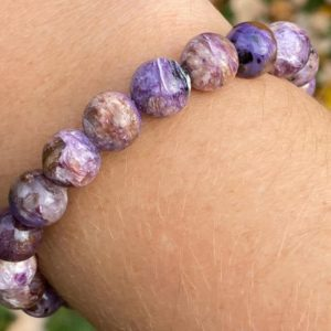 Charoite Gemstone Bracelet 10mm Purple Chatoyant Crystal Healing Jewelry Stretchy Beaded Bracelet  Round Beads #3 | Natural genuine Gemstone bracelets. Buy crystal jewelry, handmade handcrafted artisan jewelry for women.  Unique handmade gift ideas. #jewelry #beadedbracelets #beadedjewelry #gift #shopping #handmadejewelry #fashion #style #product #bracelets #affiliate #ad