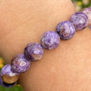 Charoite Gemstone Bracelet 11mm Purple Chatoyant Crystal Healing Jewelry Stretchy Beaded Bracelet  Round Beads #4 | Natural genuine Gemstone bracelets. Buy crystal jewelry, handmade handcrafted artisan jewelry for women.  Unique handmade gift ideas. #jewelry #beadedbracelets #beadedjewelry #gift #shopping #handmadejewelry #fashion #style #product #bracelets #affiliate #ad