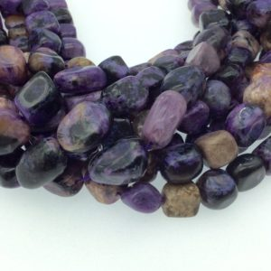 """Shop Charoite Chip & Nugget Beads! Purple Charoite Nugget/Tumble Beads – 16"""" Strand (Approximately 38 Beads) – Measuring 5-8mm x 10-15mm – Natural Semi-Precious Gemstone 