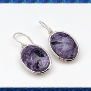 Shop Charoite Earrings! Charoite Earrings – Sterling Silver – Simple Oval Setting – Purple Charoite Earrings | Natural genuine Charoite earrings. Buy crystal jewelry, handmade handcrafted artisan jewelry for women.  Unique handmade gift ideas. #jewelry #beadedearrings #beadedjewelry #gift #shopping #handmadejewelry #fashion #style #product #earrings #affiliate #ad