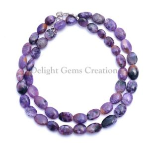 Shop Charoite Necklaces! Charoite Beaded Necklace, AAA Purple RUSSIAN CHAROITE Gemstone Beads Necklace, 6×7-7x10mm Charote Oval Beads, 18 Inches Long Necklace | Natural genuine Charoite necklaces. Buy crystal jewelry, handmade handcrafted artisan jewelry for women.  Unique handmade gift ideas. #jewelry #beadednecklaces #beadedjewelry #gift #shopping #handmadejewelry #fashion #style #product #necklaces #affiliate #ad