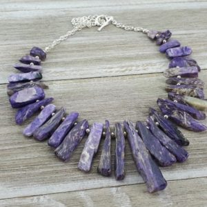 Shop Charoite Necklaces! Charoite Statement Necklace – Natural Charoite Rough Cut / Polished Stick Necklace – Rare Purple Stone – Sterling Silver – One Of A Kind | Natural genuine Charoite necklaces. Buy crystal jewelry, handmade handcrafted artisan jewelry for women.  Unique handmade gift ideas. #jewelry #beadednecklaces #beadedjewelry #gift #shopping #handmadejewelry #fashion #style #product #necklaces #affiliate #ad