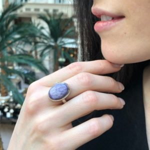 Shop Charoite Jewelry! Large Oval Ring, Charoite Ring, Statement Purple Ring, Gemini Birthstone, Retro Ring, Large Purple Ring, Outstanding Ring, Solid Silver Ring | Natural genuine Charoite jewelry. Buy crystal jewelry, handmade handcrafted artisan jewelry for women.  Unique handmade gift ideas. #jewelry #beadedjewelry #beadedjewelry #gift #shopping #handmadejewelry #fashion #style #product #jewelry #affiliate #ad