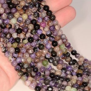 Shop Charoite Beads! 7MM Purple Genuine Charoite Gemstone Grade AB Round Loose Beads 15.5 inch Full Strand BULK LOT 1,2,6,12,50 (80009744-A181) | Natural genuine beads Charoite beads for beading and jewelry making.  #jewelry #beads #beadedjewelry #diyjewelry #jewelrymaking #beadstore #beading #affiliate #ad