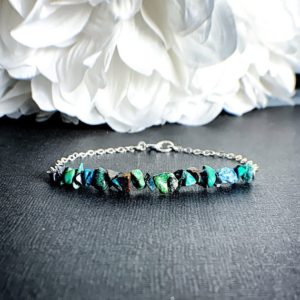 Shop Chrysocolla Bracelets! Chrysocolla Crystal Raw Stone And Silver Bracelet | Natural genuine Chrysocolla bracelets. Buy crystal jewelry, handmade handcrafted artisan jewelry for women.  Unique handmade gift ideas. #jewelry #beadedbracelets #beadedjewelry #gift #shopping #handmadejewelry #fashion #style #product #bracelets #affiliate #ad