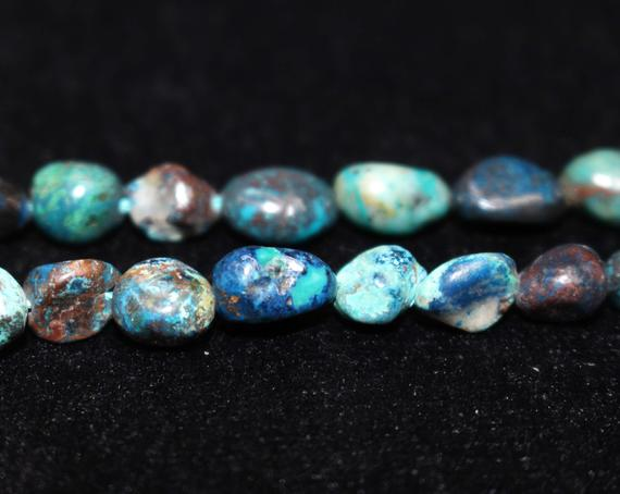 """Natural Chrysocolla Chip Beads,chip Beads,6x8mm 8x10mm Chrysocolla Chip Nugget Beads,one Strand 15"""",chrysocolla Beads."""