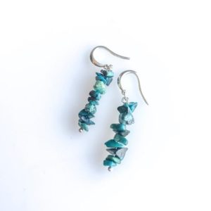 Raw Chrysocolla Earrings, Calming stones, soothing stone, raw crystal earrings | Natural genuine Gemstone earrings. Buy crystal jewelry, handmade handcrafted artisan jewelry for women.  Unique handmade gift ideas. #jewelry #beadedearrings #beadedjewelry #gift #shopping #handmadejewelry #fashion #style #product #earrings #affiliate #ad