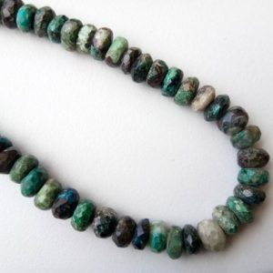 Shop Chrysocolla Necklaces! 7-7.5mm Chrysocolla Faceted Rondelle Beads, Chrysocolla Gemstone Beads, 10 Inches, 60 Pcs Chrysocolla Beads For Necklace – Adg341 | Natural genuine Chrysocolla necklaces. Buy crystal jewelry, handmade handcrafted artisan jewelry for women.  Unique handmade gift ideas. #jewelry #beadednecklaces #beadedjewelry #gift #shopping #handmadejewelry #fashion #style #product #necklaces #affiliate #ad