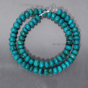 Shop Chrysocolla Necklaces! Genuine Blue Chrysocolla Beaded Necklace, 8mm-9mm Chrysocolla Smooth Rondelle Beads Necklace For Women, Silver Necklace, Christmas Gift | Natural genuine Chrysocolla necklaces. Buy crystal jewelry, handmade handcrafted artisan jewelry for women.  Unique handmade gift ideas. #jewelry #beadednecklaces #beadedjewelry #gift #shopping #handmadejewelry #fashion #style #product #necklaces #affiliate #ad
