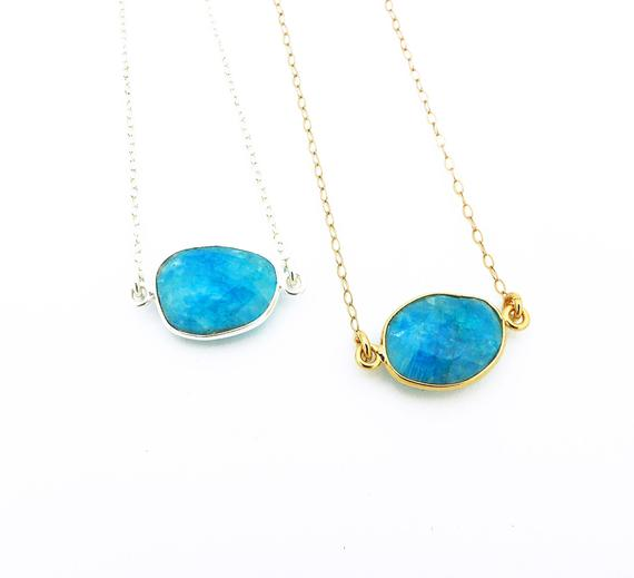 Chrysocolla Necklace Gold Filled Or Silver, Chrysocolla Pendant Natural Stone Layering Necklace, Mom Birthday Gift