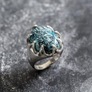 Shop Chrysocolla Rings! Chrysocolla Ring, Natural Chrysocolla, Statement Ring, Vintage Ring, Sagittarius Ring, Large Stone Ring, Blue Ring, Silver Ring, Chrysocolla | Natural genuine Chrysocolla rings, simple unique handcrafted gemstone rings. #rings #jewelry #shopping #gift #handmade #fashion #style #affiliate #ad