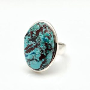 Shop Chrysocolla Rings! Chrysocolla Ring Size 6.5 Adjustable – Blue Green Chrysocolla Silver Ring – Chrysocolla Stone Ring — 925 Sterling Silver – Turquoise   Natural genuine Chrysocolla rings, simple unique handcrafted gemstone rings. #rings #jewelry #shopping #gift #handmade #fashion #style #affiliate #ad