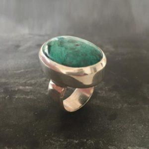 Shop Chrysocolla Rings! Chrysocolla Ring, Statement Ring, Sagittarius Birthstone, Chrysocolla, Huge Ring, Large Stone Ring, Solid Silver Ring, Pure Silver, Blue Gem | Natural genuine Chrysocolla rings, simple unique handcrafted gemstone rings. #rings #jewelry #shopping #gift #handmade #fashion #style #affiliate #ad