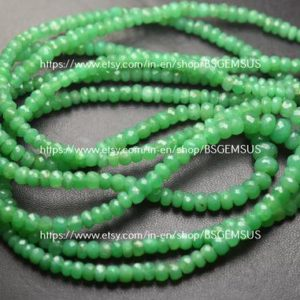 Shop Chrysoprase Faceted Beads! 15 Inches Strand,Finest Quality,Natural Chrysoprase Faceted Rondelles,Size 4-7mm   Natural genuine faceted Chrysoprase beads for beading and jewelry making.  #jewelry #beads #beadedjewelry #diyjewelry #jewelrymaking #beadstore #beading #affiliate #ad
