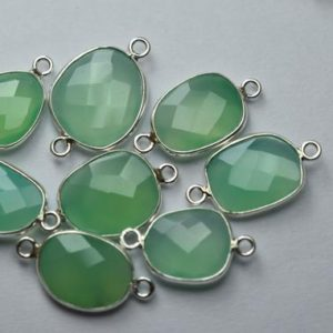 Shop Chrysoprase Faceted Beads! 925 Sterling Silver,Chrysoprase Chalcedony Faceted Slice Shape Connector,5 Piece Of  17-18mm | Natural genuine faceted Chrysoprase beads for beading and jewelry making.  #jewelry #beads #beadedjewelry #diyjewelry #jewelrymaking #beadstore #beading #affiliate #ad