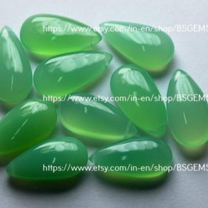 Side Drilled,3 Mtched Pair,Super Finist, Chrysoprase Chalcedony Smooth Pear Shape Briolettes,Size 10x20mm | Natural genuine beads Gemstone beads for beading and jewelry making.  #jewelry #beads #beadedjewelry #diyjewelry #jewelrymaking #beadstore #beading #affiliate #ad