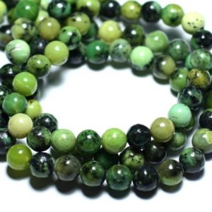 Shop Chrysoprase Bead Shapes! Wire 63pc – stone beads – Chrysoprase balls 6 mm approx 39cm | Natural genuine other-shape Chrysoprase beads for beading and jewelry making.  #jewelry #beads #beadedjewelry #diyjewelry #jewelrymaking #beadstore #beading #affiliate #ad