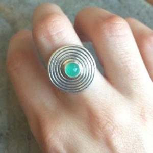 Shop Chrysoprase Rings! Chrysoprase Ring, Australian Chrysoprase, Natural Chrysoprase, Silver Infinity Ring, May Birthstone, Round Silver Ring, Solid Silver Ring | Natural genuine Chrysoprase rings, simple unique handcrafted gemstone rings. #rings #jewelry #shopping #gift #handmade #fashion #style #affiliate #ad