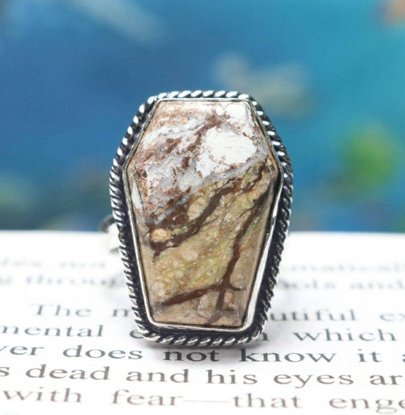 Coffin Ring, 925 Sterling Silver Ring, Natural Picture Jasper Ring, Quality Coffin Gemstone Ring, Birthstone Ring, Statement Ring