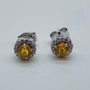 Shop Yellow Sapphire Earrings! Diamond and Yellow Sapphire Earring, Natural Sapphire & Diamond, 14 K White Gold Earring, Gift for her, Gift for Mom, Gift for Christmas | Natural genuine Yellow Sapphire earrings. Buy crystal jewelry, handmade handcrafted artisan jewelry for women.  Unique handmade gift ideas. #jewelry #beadedearrings #beadedjewelry #gift #shopping #handmadejewelry #fashion #style #product #earrings #affiliate #ad