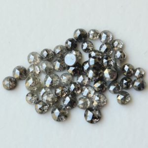 Shop Diamond Cabochons! 1.5-2mm Rose Cut Diamond, Natural Salt And Pepper Round Flat Back Diamond Cabochon, Rose Cut Diamond Jewelry (5 Pcs To 20 Pcs Option)-PPD919 | Natural genuine stones & crystals in various shapes & sizes. Buy raw cut, tumbled, or polished gemstones for making jewelry or crystal healing energy vibration raising reiki stones. #crystals #gemstones #crystalhealing #crystalsandgemstones #energyhealing #affiliate #ad