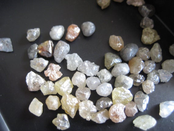 7 Pieces 4mm To 5mm Raw Loose Diamonds, Wholesale Rough Uncut Diamond For Making Jewelry, Sku-d64