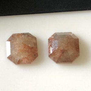 2 Pieces 8.8mm/3.85CTW Matched Pair Clear Red Peach Asscher Cut Rose Cut Diamond Loose, Faceted Flat Back Diamond Rose Cut Cabochon,DDS644/2 | Natural genuine beads Gemstone beads for beading and jewelry making.  #jewelry #beads #beadedjewelry #diyjewelry #jewelrymaking #beadstore #beading #affiliate #ad