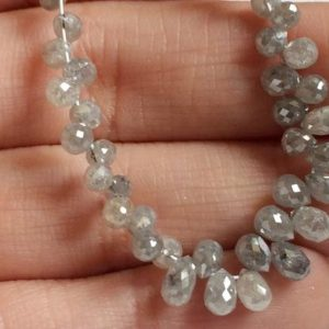 Shop Diamond Bead Shapes! 2×2.5mm-2x3mm Grey Diamond Faceted Briolette Beads, Natural Sparkling Rough Diamond Tear Drops, Diamond Drops For Jewelry (2Pcs To 10Pcs) | Natural genuine other-shape Diamond beads for beading and jewelry making.  #jewelry #beads #beadedjewelry #diyjewelry #jewelrymaking #beadstore #beading #affiliate #ad