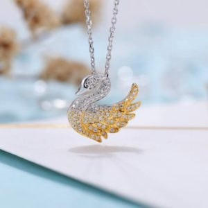 Shop Diamond Pendants! Diamond Pendant Necklace Women | Charm Micro Pave Swan Necklace | Unique Jewelry | Solid Yellow Gold Necklace | Anniversary Gift For Her | Natural genuine Diamond pendants. Buy crystal jewelry, handmade handcrafted artisan jewelry for women.  Unique handmade gift ideas. #jewelry #beadedpendants #beadedjewelry #gift #shopping #handmadejewelry #fashion #style #product #pendants #affiliate #ad