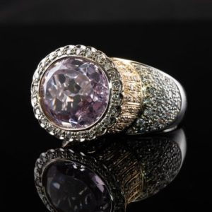 Shop Kunzite Rings! Diamond & Purple Kunzite Ring, 14K Gold Cocktail | Natural genuine Kunzite rings, simple unique handcrafted gemstone rings. #rings #jewelry #shopping #gift #handmade #fashion #style #affiliate #ad