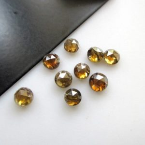 4 Pieces 4mm To 4.5mm Natural Clear Cognac Brown Honey Color Round Rose Cut Diamond Loose, Loose Brown Diamond Rose Cut Cabochon,  Dds5565 / 2 | Natural genuine round Diamond beads for beading and jewelry making.  #jewelry #beads #beadedjewelry #diyjewelry #jewelrymaking #beadstore #beading #affiliate #ad