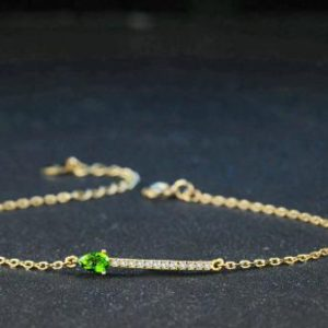 Shop Diopside Bracelets! 3x5mm 100% Natural Green Diopside 925 Sterling Silver Jewelry Chain Charm Bracelet, Birthday Gift, Engagement And Wedding Gift, Gift For Her | Natural genuine Diopside bracelets. Buy handcrafted artisan wedding jewelry.  Unique handmade bridal jewelry gift ideas. #jewelry #beadedbracelets #gift #crystaljewelry #shopping #handmadejewelry #wedding #bridal #bracelets #affiliate #ad