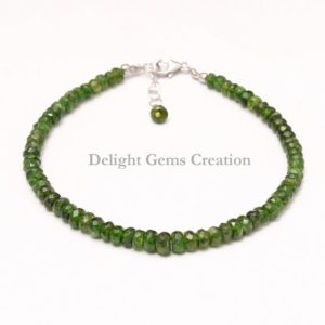 Shop Diopside Bracelets! Natural Chrome Diopside Beaded Bracelet, 4mm-5mm Chrome Diopside Faceted Rondelle Beads Bracelet,Sterling Silver Green Bracelet Gift For Her | Natural genuine Diopside bracelets. Buy crystal jewelry, handmade handcrafted artisan jewelry for women.  Unique handmade gift ideas. #jewelry #beadedbracelets #beadedjewelry #gift #shopping #handmadejewelry #fashion #style #product #bracelets #affiliate #ad