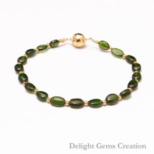 Shop Diopside Bracelets! Natural Chrome Diopside Beaded Bracelet, 5x6mm-5x7mm Green Chrome Diopside Bracelet, Silver Green Bracelet With Gold Vermeil Magnetic Clasp | Natural genuine Diopside bracelets. Buy crystal jewelry, handmade handcrafted artisan jewelry for women.  Unique handmade gift ideas. #jewelry #beadedbracelets #beadedjewelry #gift #shopping #handmadejewelry #fashion #style #product #bracelets #affiliate #ad