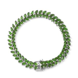 Shop Diopside Bracelets! Russian Diopside Tennis Bracelet in Sterling Silver, Chrome Diopside Bracelet, Gemstone Bracelet, Silver Bracelet, Gift for Her | Natural genuine Diopside bracelets. Buy crystal jewelry, handmade handcrafted artisan jewelry for women.  Unique handmade gift ideas. #jewelry #beadedbracelets #beadedjewelry #gift #shopping #handmadejewelry #fashion #style #product #bracelets #affiliate #ad