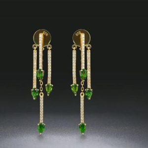 Shop Diopside Earrings! Natural Diopside Earring 925 Sterling Silver Gemstone Cocktail Fine Jewelry for Women Bridal Wedding Earrings, Gift For Her | Natural genuine Diopside earrings. Buy handcrafted artisan wedding jewelry.  Unique handmade bridal jewelry gift ideas. #jewelry #beadedearrings #gift #crystaljewelry #shopping #handmadejewelry #wedding #bridal #earrings #affiliate #ad