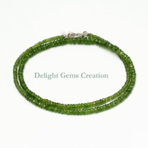 Shop Diopside Necklaces! Natural Chrome Diopside Beaded Necklace, 3mm-5mm Chrome Diopside Faceted Rondelle Beads Necklace, Sterling Silver Green Necklace AAA++ | Natural genuine Diopside necklaces. Buy crystal jewelry, handmade handcrafted artisan jewelry for women.  Unique handmade gift ideas. #jewelry #beadednecklaces #beadedjewelry #gift #shopping #handmadejewelry #fashion #style #product #necklaces #affiliate #ad