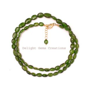 Shop Diopside Necklaces! Natural Chrome Diopside Beaded Necklace, 7×5-10x6mm Chrome Diopside Smooth Oval Bead Necklace, Sterling Silver Green Necklace, Gift For Her | Natural genuine Diopside necklaces. Buy crystal jewelry, handmade handcrafted artisan jewelry for women.  Unique handmade gift ideas. #jewelry #beadednecklaces #beadedjewelry #gift #shopping #handmadejewelry #fashion #style #product #necklaces #affiliate #ad