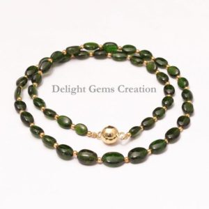 Shop Diopside Necklaces! Natural Chrome Diopside Beaded Necklace, 5x7mm-7x10mm Green Chrome Diopside Necklace, Silver Green Necklace With Gold Vermeil Magnetic Clasp | Natural genuine Diopside necklaces. Buy crystal jewelry, handmade handcrafted artisan jewelry for women.  Unique handmade gift ideas. #jewelry #beadednecklaces #beadedjewelry #gift #shopping #handmadejewelry #fashion #style #product #necklaces #affiliate #ad
