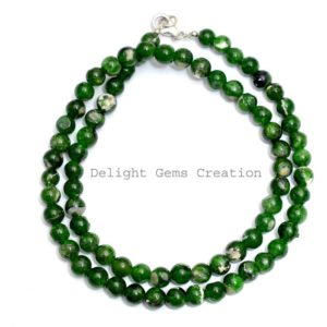 Shop Diopside Necklaces! Natural Chrome Diopside Silver Necklace, 6-6.5mm Smooth Round Beads Necklace, Green Stone Chrome Diopside Jewelry, 18 Inches Necklace | Natural genuine Diopside necklaces. Buy crystal jewelry, handmade handcrafted artisan jewelry for women.  Unique handmade gift ideas. #jewelry #beadednecklaces #beadedjewelry #gift #shopping #handmadejewelry #fashion #style #product #necklaces #affiliate #ad