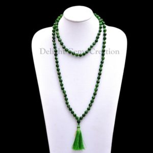 ON SALE Chrome Diopside 108 Beads Mala Necklace, 6 mm Round Beads, Hand knotted Beads Tassel Necklace, Meditation Mala, Wrap Mala Necklace | Natural genuine Gemstone necklaces. Buy crystal jewelry, handmade handcrafted artisan jewelry for women.  Unique handmade gift ideas. #jewelry #beadednecklaces #beadedjewelry #gift #shopping #handmadejewelry #fashion #style #product #necklaces #affiliate #ad