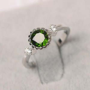 Shop Diopside Rings! Chrome green diopside ring sterling silver engagement ring for women round cut gemstone ring | Natural genuine Diopside rings, simple unique alternative gemstone engagement rings. #rings #jewelry #bridal #wedding #jewelryaccessories #engagementrings #weddingideas #affiliate #ad