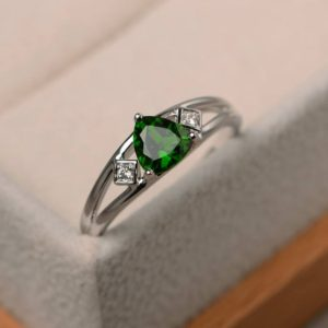Shop Diopside Rings! Natural chrome diopside ring, promise ring, trillion cut green gemstone, sterling silver ring | Natural genuine Diopside rings, simple unique handcrafted gemstone rings. #rings #jewelry #shopping #gift #handmade #fashion #style #affiliate #ad