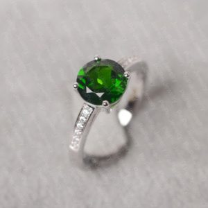 Shop Diopside Rings! Diopside ring sterling silver engagement ring round cut green gemstone ring | Natural genuine Diopside rings, simple unique alternative gemstone engagement rings. #rings #jewelry #bridal #wedding #jewelryaccessories #engagementrings #weddingideas #affiliate #ad