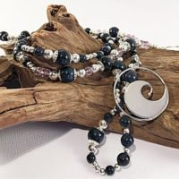 Dumortierite And Sterling Silver Long Statement Necklace,  Gemstone Beaded Necklace, September Birthstone, Artisan Jewelry | Natural genuine Gemstone jewelry. Buy crystal jewelry, handmade handcrafted artisan jewelry for women.  Unique handmade gift ideas. #jewelry #beadedjewelry #beadedjewelry #gift #shopping #handmadejewelry #fashion #style #product #jewelry #affiliate #ad