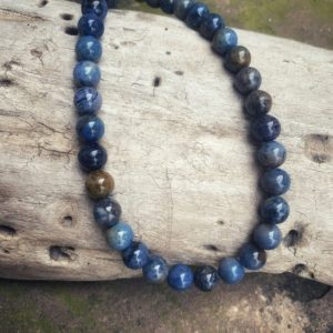 Shop Dumortierite Necklaces! Dumortierite Beaded Necklace for Men and Women, Blue Stone Throat Chakra Healing Jewelry, Metaphysical Crystal Protection Stone Jewelry | Natural genuine Dumortierite necklaces. Buy handcrafted artisan men's jewelry, gifts for men.  Unique handmade mens fashion accessories. #jewelry #beadednecklaces #beadedjewelry #shopping #gift #handmadejewelry #necklaces #affiliate #ad