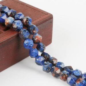 Shop Dumortierite Beads! Dumortierite Blue Czech Star Cut Stone Beads, 8mm, Hole Size 1.5mm 48pcs/bag | Natural genuine faceted Dumortierite beads for beading and jewelry making.  #jewelry #beads #beadedjewelry #diyjewelry #jewelrymaking #beadstore #beading #affiliate #ad