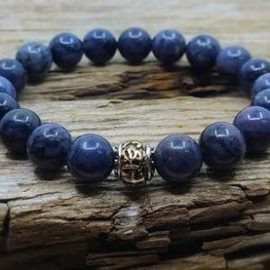 Dumortierite Bracelet, Mens Bracelet, Balance, Protection Bracelet, Stress Relief, Anxiety Relief, Mens Gift, Yoga Gift, Crystal Healing | Natural genuine Gemstone bracelets. Buy handcrafted artisan men's jewelry, gifts for men.  Unique handmade mens fashion accessories. #jewelry #beadedbracelets #beadedjewelry #shopping #gift #handmadejewelry #bracelets #affiliate #ad